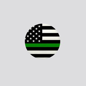 U.S. Flag: The Thin Green Line Mini Button